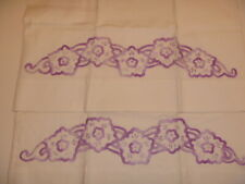 Vintage Set Standard Pillowcases Purple White Flowers Embroidered