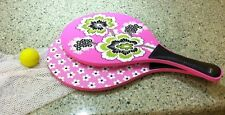 Vera Bradley Priscilla Pink Paddle Ball Set with Mesh Bag