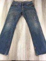 American Eagle Straight Men's Jeans Size 32x34 Light Blue Wash Denim Distressed