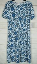 Lularoe Women's Marly White with Blue Floral Dress Size M NWT