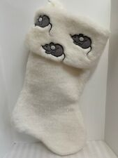 Christmas Stocking White Sparkle Fur W/ 3 Gray Mice