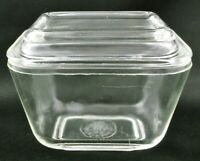 Vintage Pyrex Clear Glass Refrigerator Dish 501-B & 501-C Lid Measures One Cup