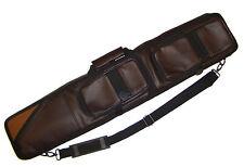 Billard 4/8er Queue Köcher Koffer Tasche braun Glattledleder mit Aufsatztaschen
