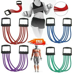5-Spring Rubber Muscle Pull Stretcher Chest Expander Home Gym Training Exerciser