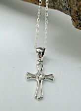 """925 Sterling Silver - Cross Pendant Necklace with Central Crystal - 18"""" Chain"""