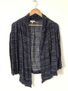 Fat Face Women Cardigan Size 12 Navy Blue Marl Stretch Wrap 3/4 Sleeve