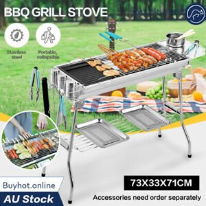 OUTDOOR FOLDING STAINLESS STEEL BBQ BARBECUE GRILL STOVE CHARCOAL PICNIC CAMPING