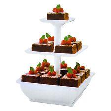 Blanc 3 Tier Cake Stand Plastique Cupcake Fête De Mariage Affichage Dessert stand