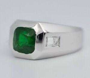 Men's Platinum 3 Stone Cushion Cut Tsavorite With Baguette Diamonds Ring Size 9