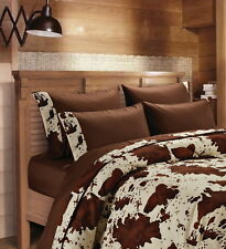 CHOCOLATE RODEO COW SHEET SET QUEEN SIZE WESTERN BEDDING 6 PC MICROFIBER BROWN
