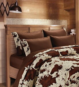 CHOCOLATE RODEO! SHEET SET FULL SIZE WESTERN BEDDING 6 PC LODGE MICROFIBER BROWN