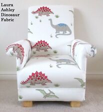 Laura Ashley Dinosaur Fabric Child's Chair White Red Boys Nursery Kids Armchair