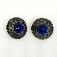 Silver Lapis Lazuli Women's Blue Stone Round Stone Earrings