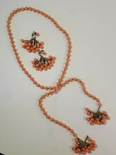 Vintage Bolo Style Peach Beaded Necklace w/Dangle Clip On Earrings Filigree