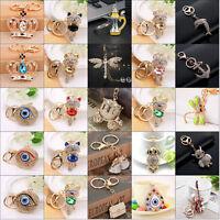 Rhinestone Crystal Keyring Charm Pendant Purse Handbag Key Ring Chain Keychain
