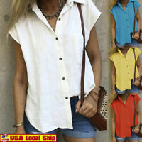 Women's Fashion Casual Solid Short Sleeve Top Shirt Botton Cotton Blouses US