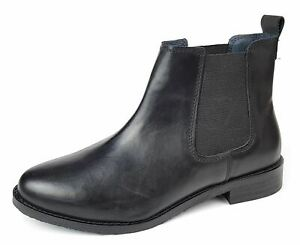 Womens Ankle Chelsea Boots Black Leather Ladies Slip On Size 3 4 5 6 7 8