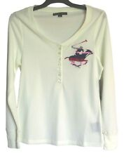 New Beverly Hills Polo Club Shirt ~ Ladies Size L~ White Long Sleeve ~ MBC
