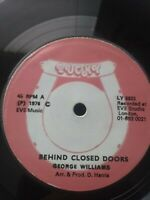 "George Williams-Behind Closed Doors 7"" Vinyl Single 1976 UK REGGAE ROOTS"