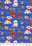 Patriotic Dogs Pups Red White Blue Cotton Fabric Glitter Fabric Traditions BTY