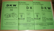 Ersatzteilliste DKW Reichsmodell 100 & Betriebsanleitung KS200 & SB200, 350, 500
