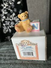 "Miniature Cherished Teddies Bear with Abc ""N"" Block Letter Mini Figurine"