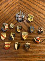 Vintage Foreign Pins  Lot 14 European Pins 1950s 1960s London Paris Germany