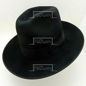 VINTAGE Fur Felt Fedora Trilby Cowboy Hat Stiff Wide Brim (8cm) | Black | 55cm
