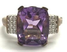 Sterling Silver Oxidized Emerald Cut Purple Amethyst - CZ Cluster Cocktail Ring