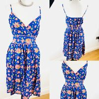 Ladies PAPAYA Strappy Summer Dress Floral Size 18 Adjustable Straps Blue/Orange