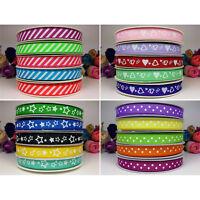 "Polka Dot Stars Hearts & Stripes 25m Metres 10mm (3/8"") Grosgrain Ribbon Roll"