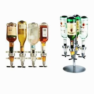 WALL MOUNTED & ROTARY STAND DRINK OPTIC DISPENSER PARTY BAR BUTLER 4 BOTTLES