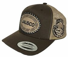 JALISCO  MEXICO BASEBALL HAT 2 LOGOS BROWN  KHAKI MESH TRUCKER  SNAP BACK