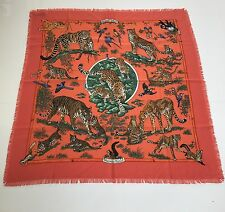 Hermes Cashmere Silk Fringed Scarf/Tuch TENDRESSE FELINE Orange