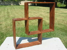 Vtg Wood Wooden Double Square Cube Shelf Shelves Wall Hang Japan Display Small