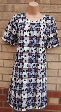 PAPAYA WHITE PURPLE BLACK LEOPARD TARTAN CHECK A LINE SMOCK BAGGY DRESS 12 M