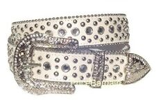 Women Western Rhinestone Bling Crystal Stud Snap On Buckle White Leather Belt S