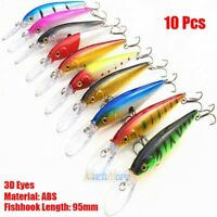 10x Fishing Lures Crankbaits Hook Minnow Baits Tackle Crank Fishing Accessories