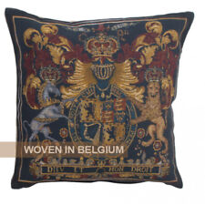 Tapestry Throw Pillow Cover Stuart Crest Coat of Arms Woven Jacquard Belgian