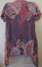 Womens Daytrip M Pink Purple Waterfall Open Front Cardigan Sweater Sublimation