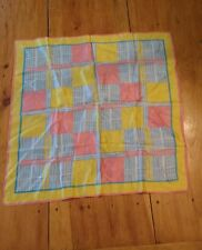 vintage pink yellow and blue fashion scarf 70s