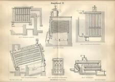 Stampa antica CALDAIA A VAPORE Tav. 2 termoidraulica 1890 Old antique print