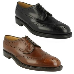 BRAEMAR LOAKE MENS POLISHED LEATHER LACE UP CLASSIC FORMAL BROGUE SHOES SIZE