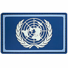 PVC UN Flag Patch Rubber Military Army Tactical Hook & Loop Badge Blue