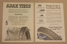 2 Page 1919 Vintage Magazine Ads AJAX & United States Car Tires Noby Cords Road