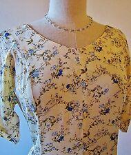LOVELY CREAM & BLUE FLORAL PRINCESS MAXI SPRING DRESS SZ SM MED + FREE NECKLACE
