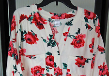 LIZ CLAIBORNE Women's L Ivory/Pink/Red Roses FLORAL Short FLANNE NIGHTGOWN NWT