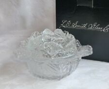 LE Smith Glass Cabbage Covered Bowl or Dish clear, new in box