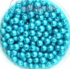 Lot de 100 Perles ronde nacré acrylique bleu clair 6 mm