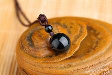 Fashion Black Obsidian Rainbow Eye Beads Ball Lucky Pendant Rope Necklace
